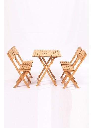 Meya Dekor Balkon - Bahçe 5'li Katlanabilir Bistro Set 4 Sandalye 1 Bahçe 60x80 Cm Masa Kahve